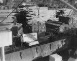 Cargo of pulp being loaded onto ship, construction of the Bloedel, Stewart and Welch kraft pulp...