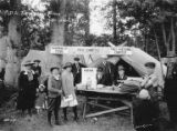 Children and adults near prize table at Bloedel-Donovan Lumber Mills employees picnic, July 22,...