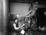 Linotype operater, Peter J. Adamson in the Swedish Tribune newspaper office, Seattle, Washington,...