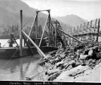 Scow fish wheel, Columbia River, Washington, ca. 1920