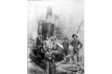 Logging crew with donkey engine, Deep River, Washington, 1903