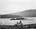 Transporting coal in railroad cars from the Blue Canyon Mine, Lake Whatcom, July 27, 1898