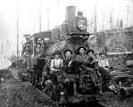 Hall and Bishop Logging Co. crew returning on logging railroad, Gettysburg, Washington, ca. 1900