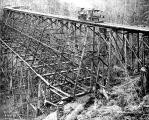 Trestle  and logging railroad at Robinson's camp, Clallam County, Washington, n.d.