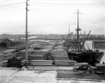 Steamship MONTICELLO loading lumber at mill dock, possibly Portland Oregon,  ca. 1923