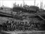 Logging crew and railroad, Benson Camp, Clatskanie, Oregon, 1904