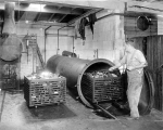 Interior view of a worker unloading a cart of canned sardines from a horizontal steam oven,...