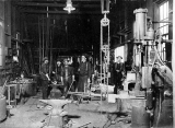 Isaacson Steel Mill interior showing workers and equipment, Seattle, n.d.