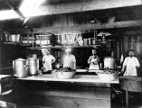 Bordeaux Brothers Logging Co. camp, interior of cookhouse, possibly Shelton, Washington, 1900-1930s