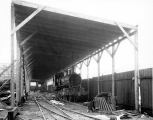 Locomotive engine track in shed, Puget Sound Machinery Depot, Seattle, Washington, December 29,...