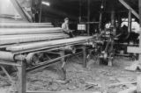 Planks being milled, Bloedel, Stewart and Welch logging company's Great Central Sawmill, Vancouver...