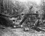 Diesel shovel #4 Northwest working on railway construction, Bloedel, Stewart and Welch logging...