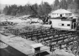 Machine room foundation, construction of the Bloedel, Stewart and Welch kraft pulp mill at Port...