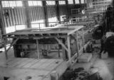Interior of machine room, construction of the Bloedel, Stewart and Welch kraft pulp mill at Port...