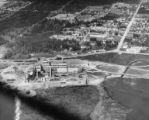 Aerial view of plant, construction of the Bloedel, Stewart and Welch kraft pulp mill at Port...