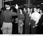 Henry M. Jackson  being sworn into the army, Fort Lewis, September 1943
