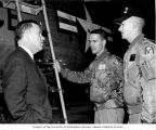 Senator Henry M. Jackson talking with members of the 322 Fighter Interceptor Squadron from...