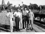 Senator Henry M. Jackson, Colonel Donald B. Gordon and others touring the Angkor Wat temple in...