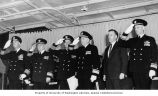 Senator Henry M. Jackson with others attending a U.S. Navy ceremony, Seattle, Washington, April...