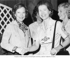 Helen Hardin Jackson shaking hands with first lady Rosalynn Carter during an event with the Senate...