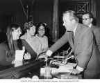 Senator Henry M. Jackson and Alaska Senator Ted Stevens joking with young visitors in the Senate...