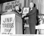 Senator Henry M. Jackson receiving a plaque commemorating trees planted in his honor, Blue and...
