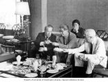 Senator Henry M. Jackson, Foreign Minister Huang Hua, and others dining on Dim Sum, Peking, China,...
