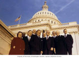 Henry M. Jackson and the Washington congressional delegation standing outside on the steps of the...