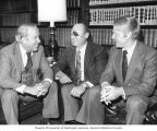 Senator Henry M. Jackson talking with Israeli Minister of Defense Moshe Dayan and Jackson's...