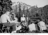 Henry M. Jackson on a camping trip with others in the Olympic National Park, Washington, ca. 1958