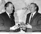 U.S. Commissioner of Reclamation, Floyd E. Dominy presenting Senator Henry M. Jackson with 25th...