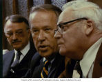 Senator Henry M. Jackson talking to Irwin LeCocq, chairman of the board of Peoples Bank, and Einar...