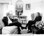 Senator Henry M. Jackson sitting with President Jimmy Carter, Oval Office, White House,...