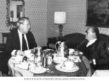 Senator Henry M. Jackson eating breakfast with Israeli Prime Minister Menachem Begin in a hotel...