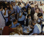 Senator Henry M. Jackson eating lunch and talking with reporters during his campaign for the...