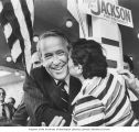 Senator Henry M. Jackson receiving a kiss from a supporter during his campaign for the Democratic...