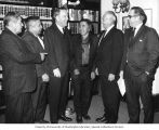 Senator Henry M. Jackson standing with representatives of the Yakima Indian tribe during their...