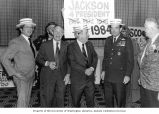 Senator Henry M. Jackson talking with Georgia Senator Samuel Nunn, Washington Congressman Joel...