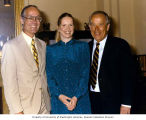 Liv Ullmann standing with Senator Henry M. Jackson and Senator Slade Gorton, Senate Office...