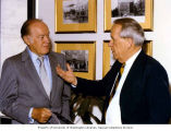 Senator Henry M. Jackson talking with comedian and actor Bob Hope during a Senate celebration of...