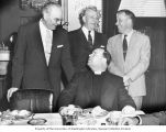 Senator Henry M. Jackson, Senator Edward J. Thye and Senator Everett M. Dirksen dining with...