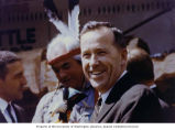 Senator Henry M. Jackson with Secretary of the Interior Stewart L. Udall and totem pole carver...