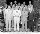 Group portrait of Congressman Henry M. Jackson and U.S. Congressional delegation during a tour of...