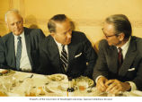 Senator Henry M. Jackson eating with Charles A. Lindbergh (left) and an unidentified man during a...