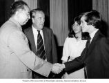 China's Premier Hua Guofeng greeting Senator Henry M. Jackson, his son, Peter, and daughter, Anna...