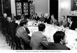 President Jimmy Carter hosting a breakfast meeting with Senate and House leaders, including...