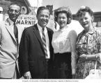 Senator Henry M. Jackson and his wife, Helen Hardin, standing on the boardwalk with Washington...