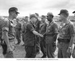Senator Henry M. Jackson touring the grounds and shaking hands with soldiers, U.S. Army, 1st...
