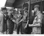 Senator Henry M. Jackson shaking hands with soldiers, U.S. Army, 1st Brigade, 101st Airborne...