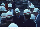 Senator Henry M. Jackson visiting with workers during construction of the West Seattle Bridge,...